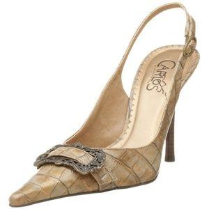 CARLOS SANTANA Prospect Leather Slingback Heels 7